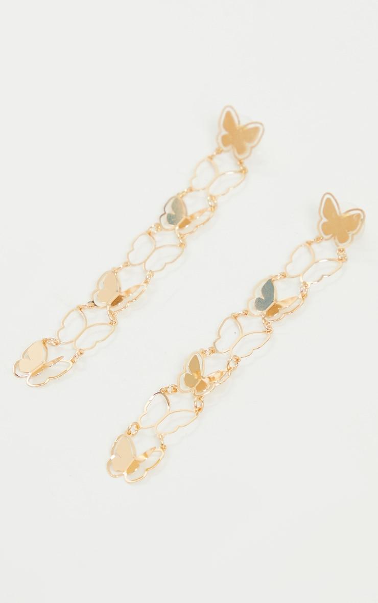 Gold Drop Butterfly Earrings 1
