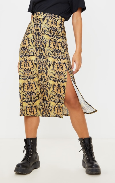 Black Chain Print Floaty Midi Skirt