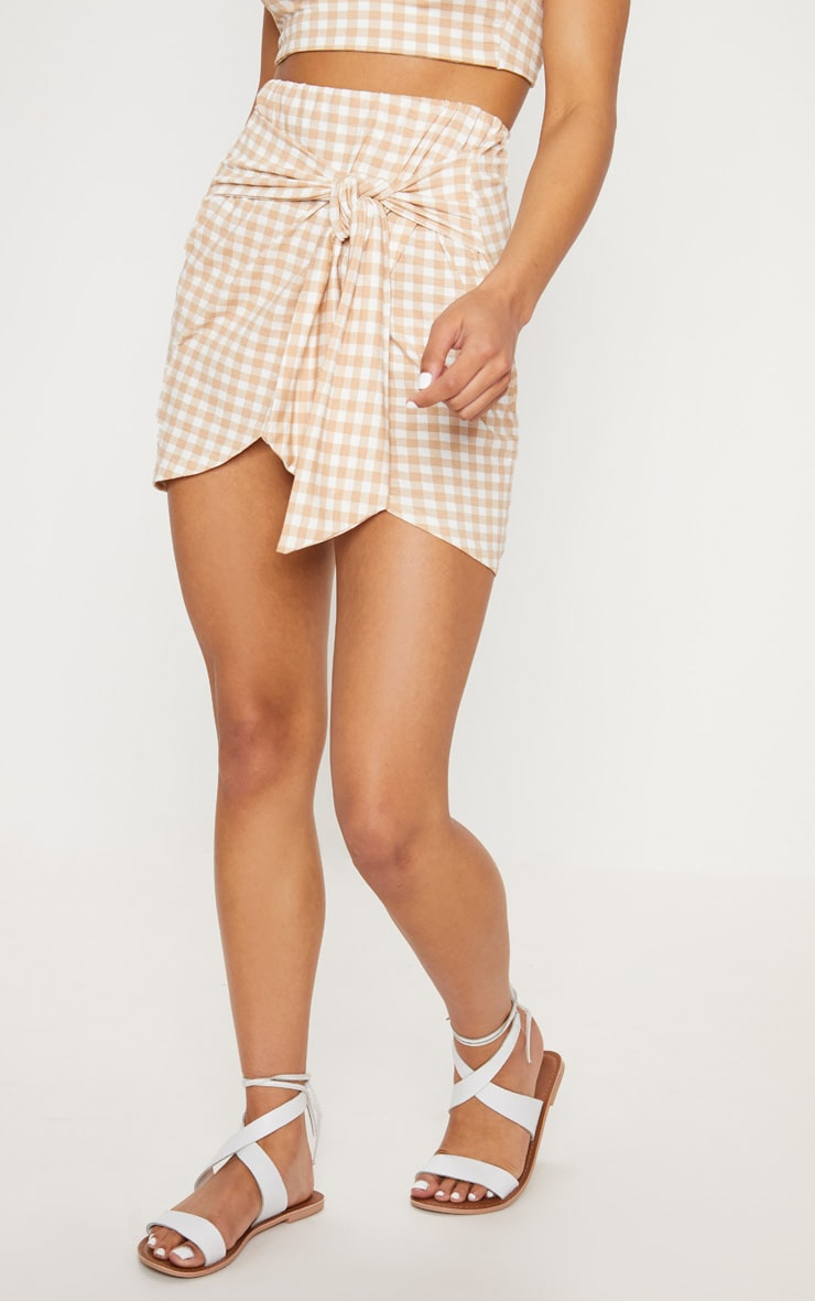 Nude Gingham Tie Front Mini Skirt 2