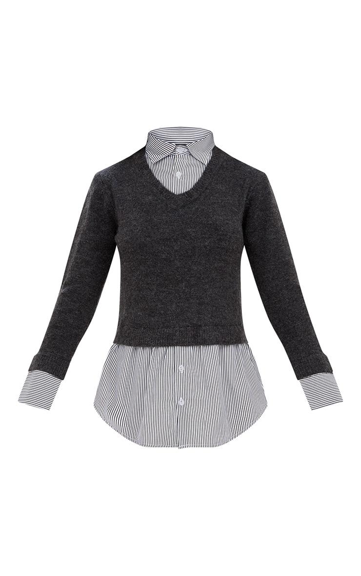 Grey Shirting Detail Jumper 3