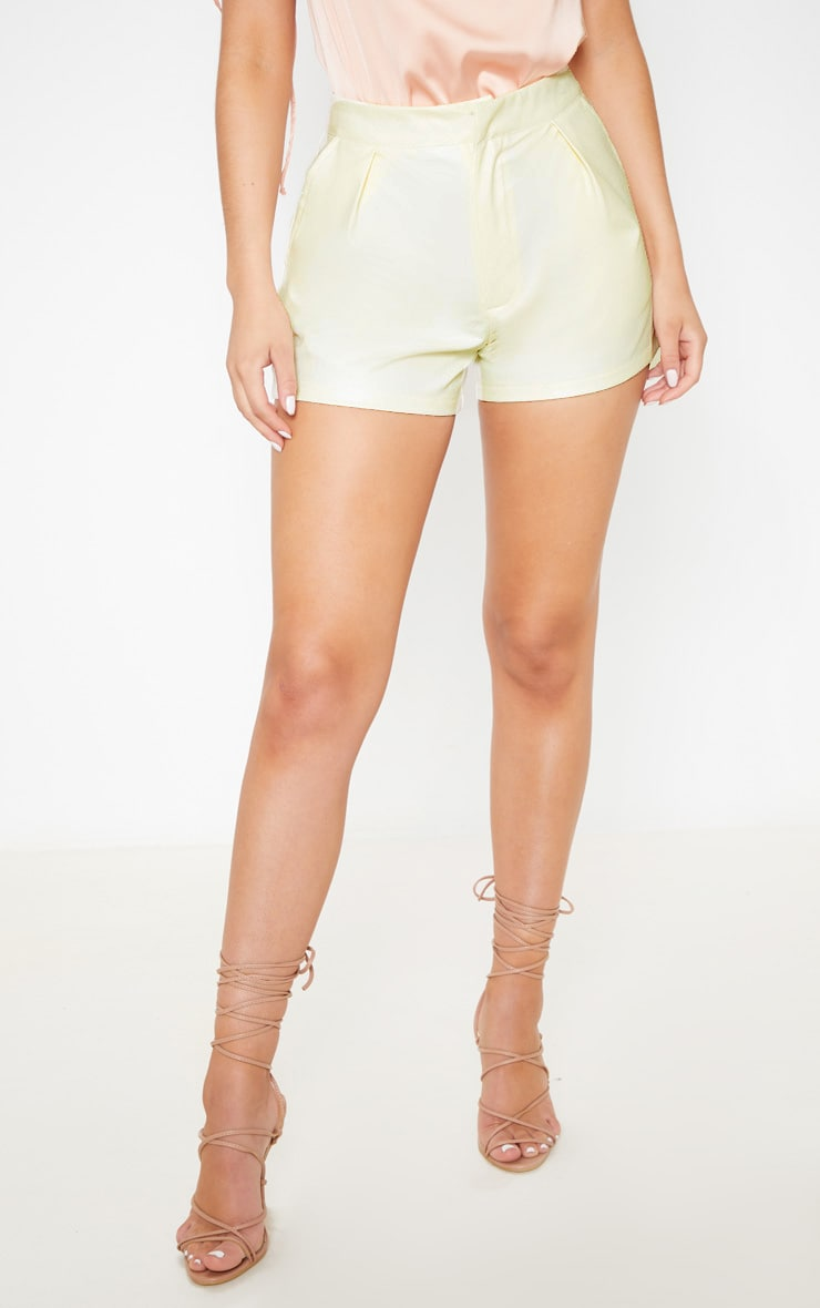 Cream Faux Leather Short 2