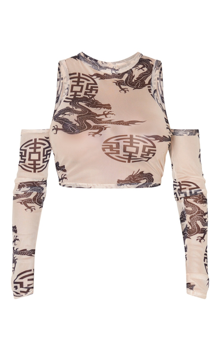 Shape Nude Oriental Print Ruched Sleeve Cold Shoulder Crop Top 3