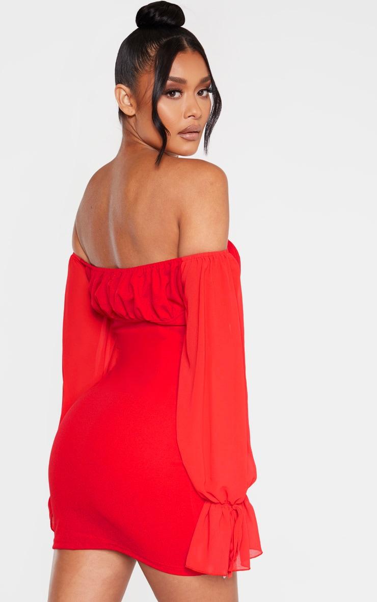 Red Chiffon Sleeve Hook & Eye Bodycon Dress 2