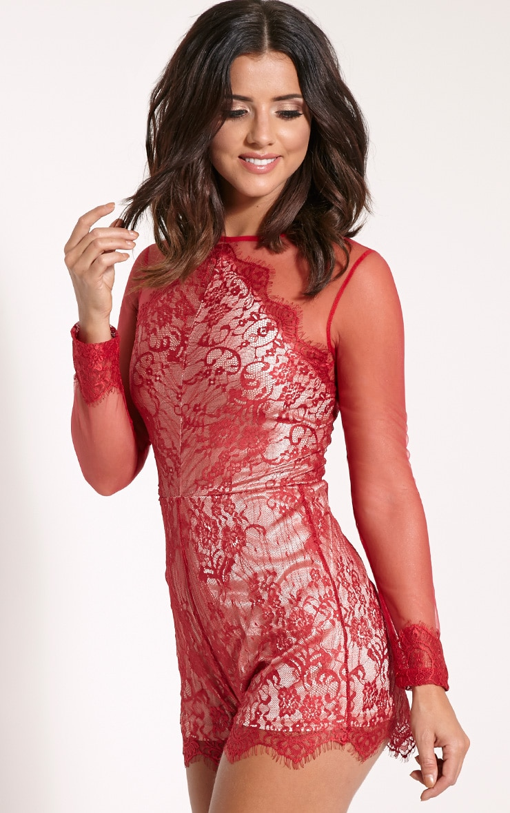 Hannie Red Lace Mesh Sleeve Playsuit 1