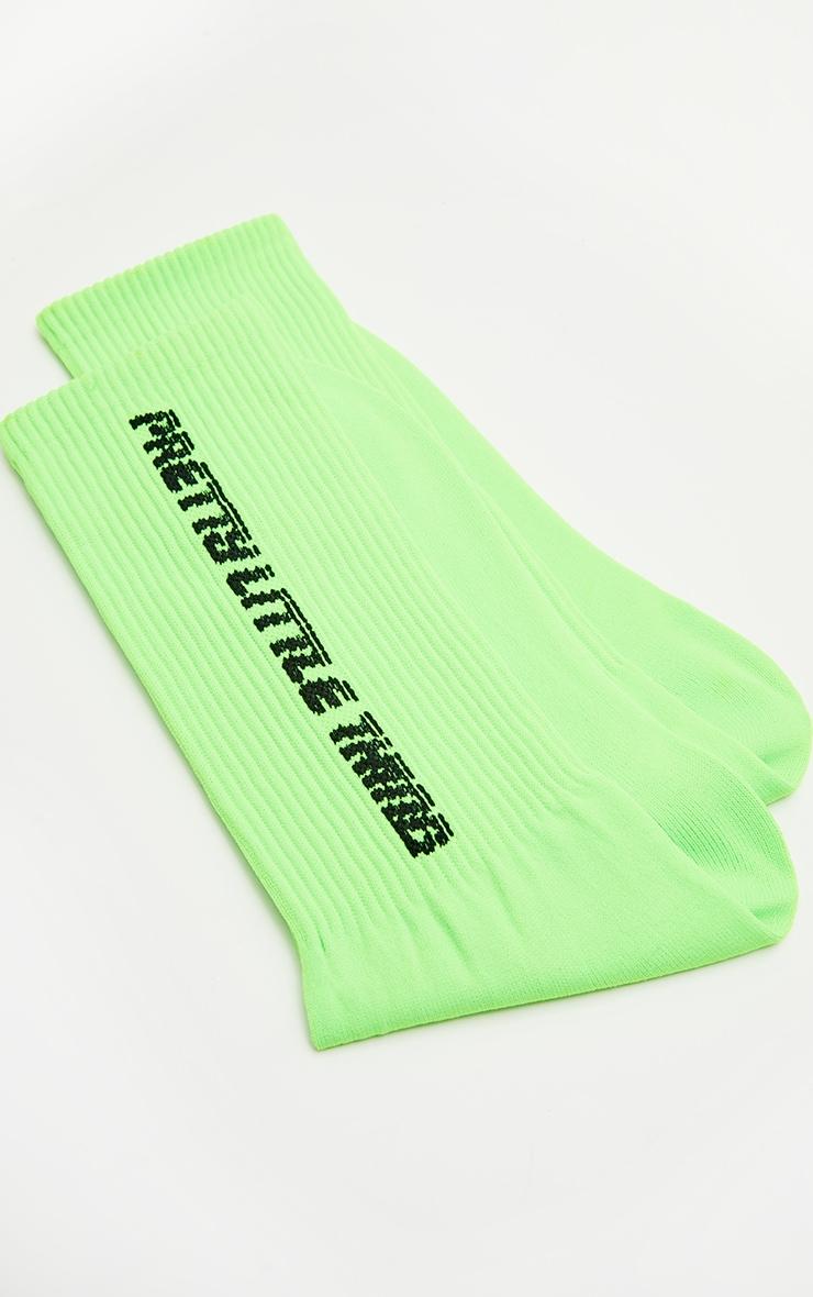 PRETTYLITTLETHING - Chaussettes vert fluo à slogan 3