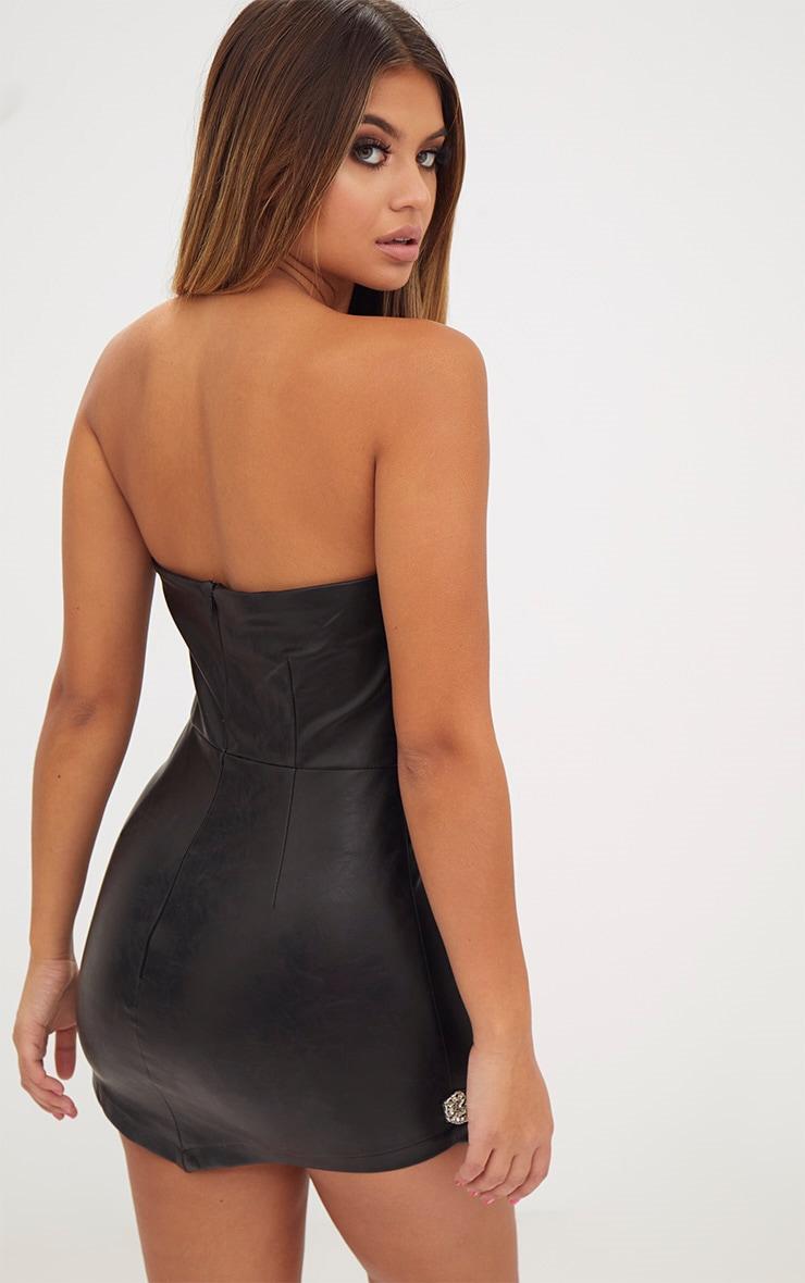 Black Extreme Mini Embellished Applique PU Bandeau Bodycon Dress 2