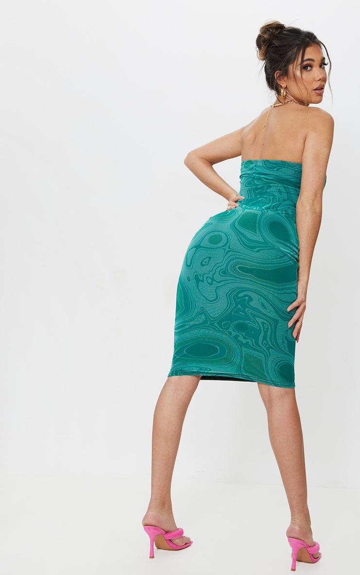 Green Marble Print Mesh Bandeau Drape Midi Dress 2