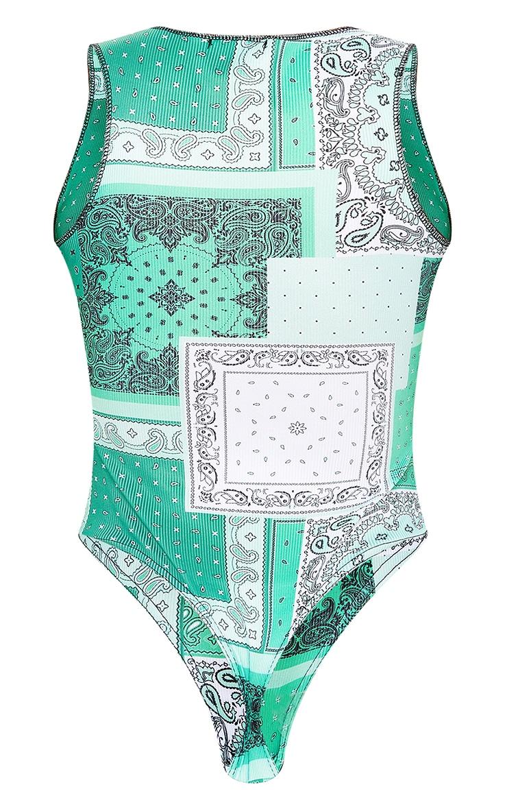 Green Bandana Patchwork Print Racer Neck Bodysuit 5