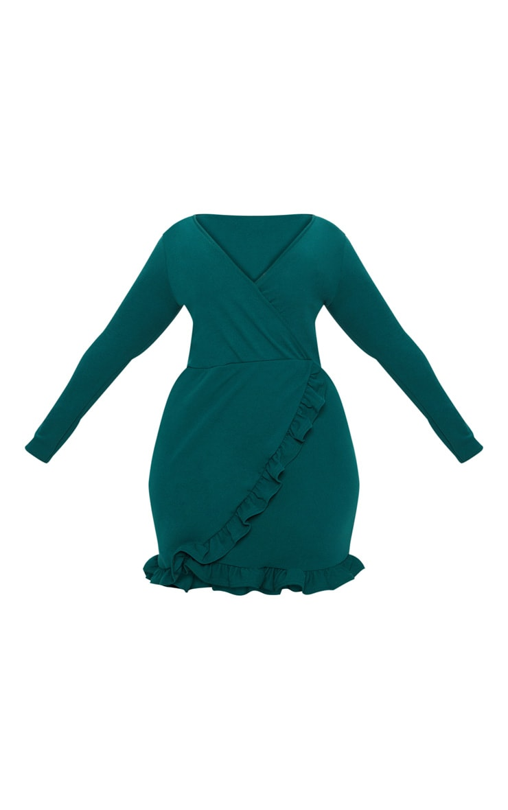 Plus Emerald Green Ruffle Detail Wrap Dress 3