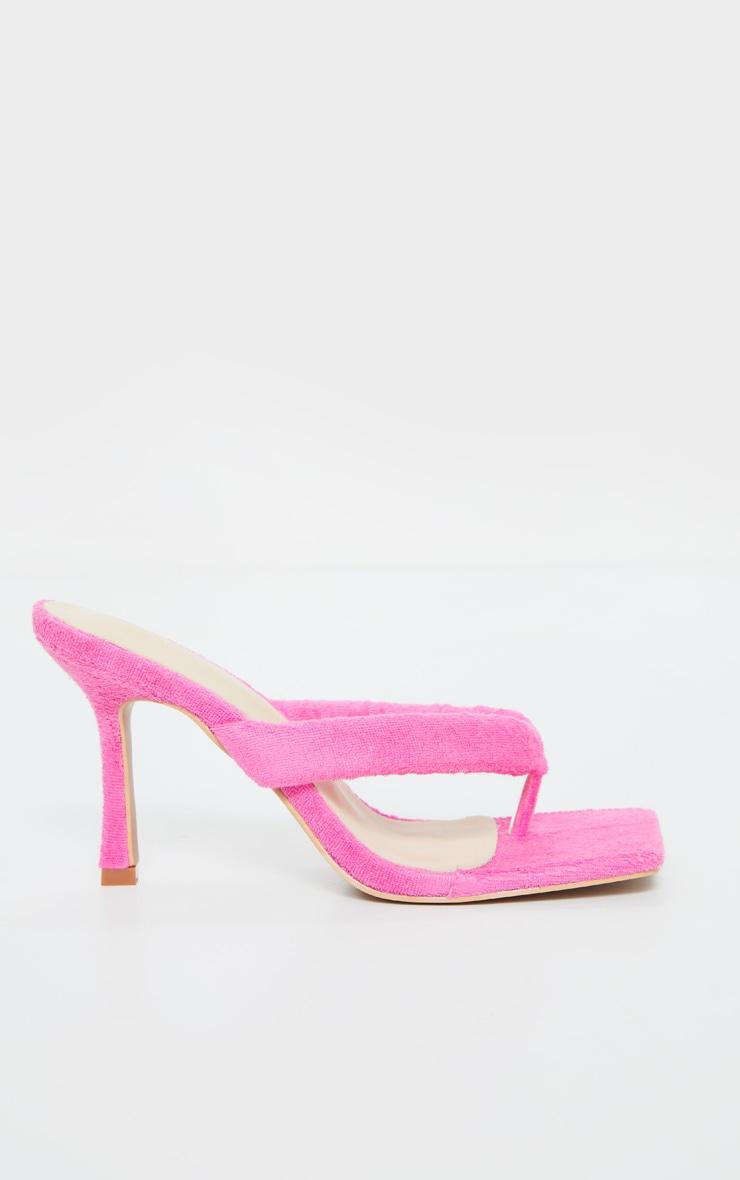 Pink Towelling Tube Strap Toe Thong Mid Heels 5