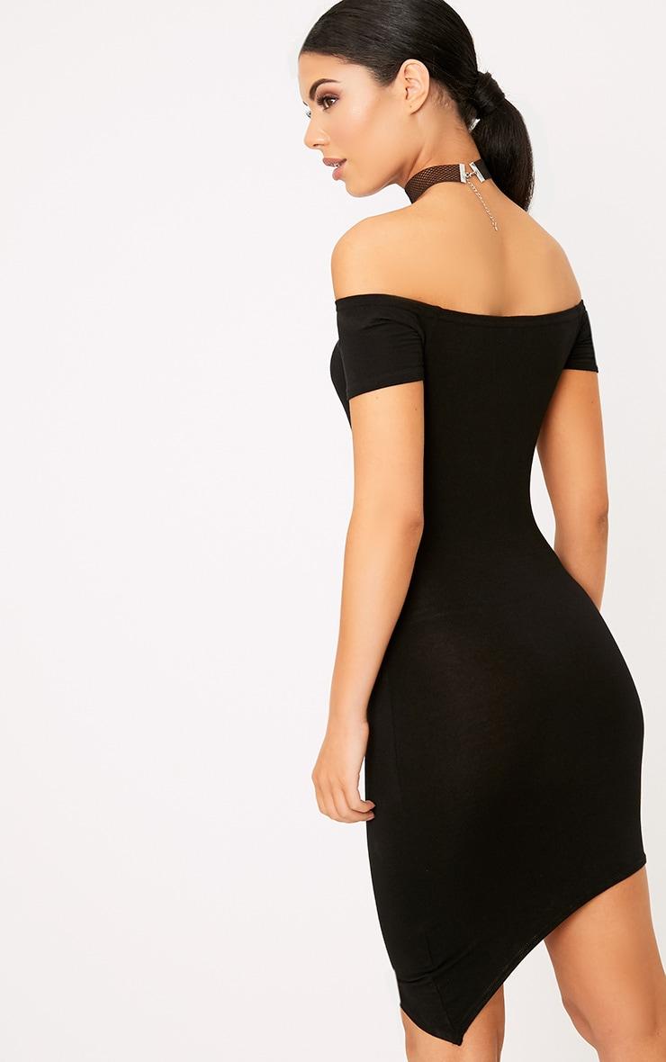 Black Asymmetric Hem Bardot Bodycon Dress 2