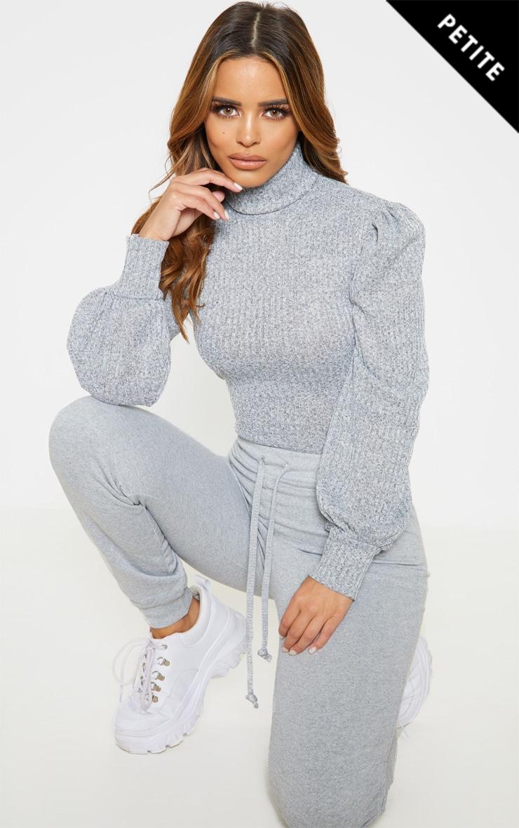 Petite Grey Rib Roll Neck Puff Sleeve Bodysuit 1