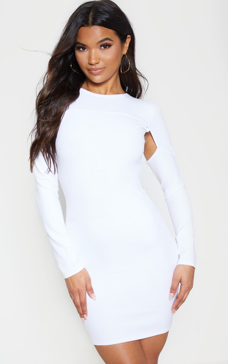 White Cut Out Sleeve Bodycon Dress 1