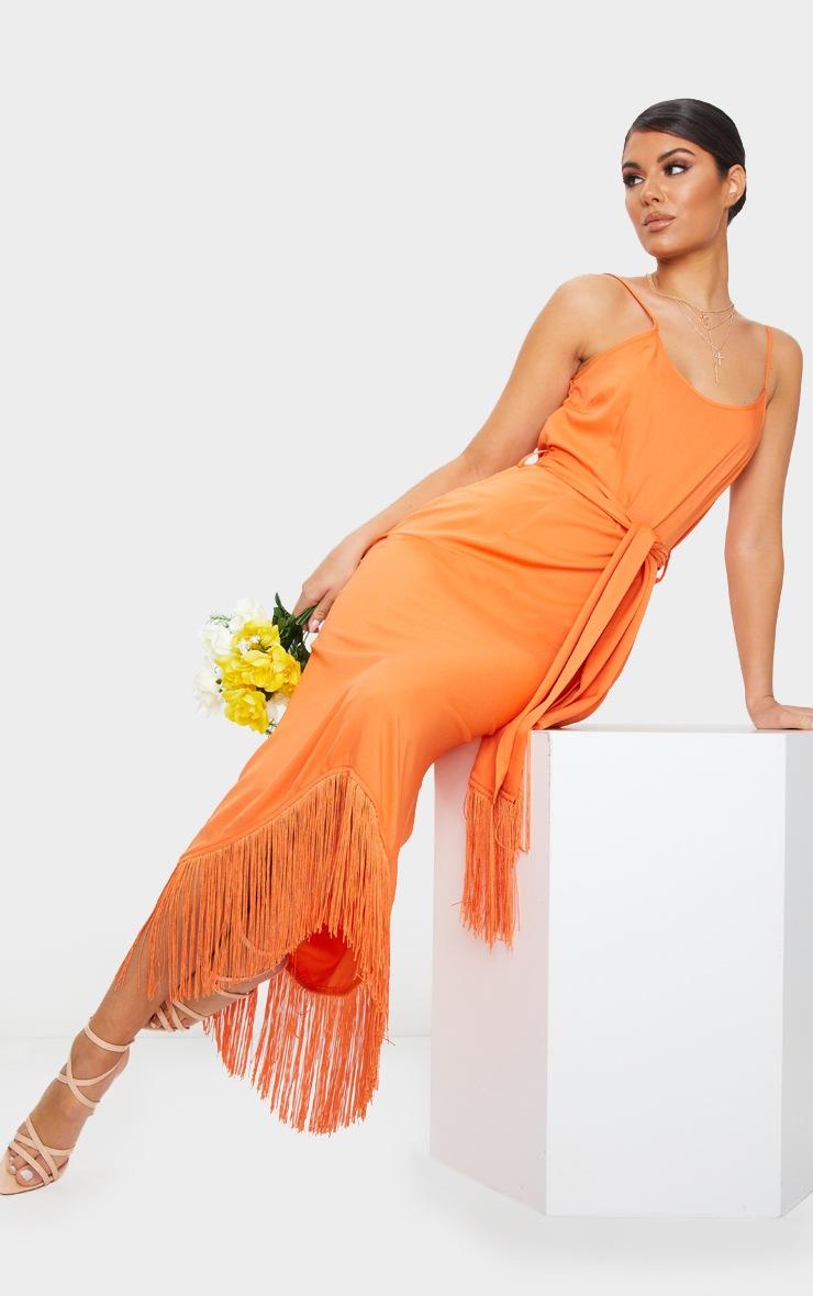 Bright Orange Tassel Detail Strappy Tie Waist Midi Dress 1