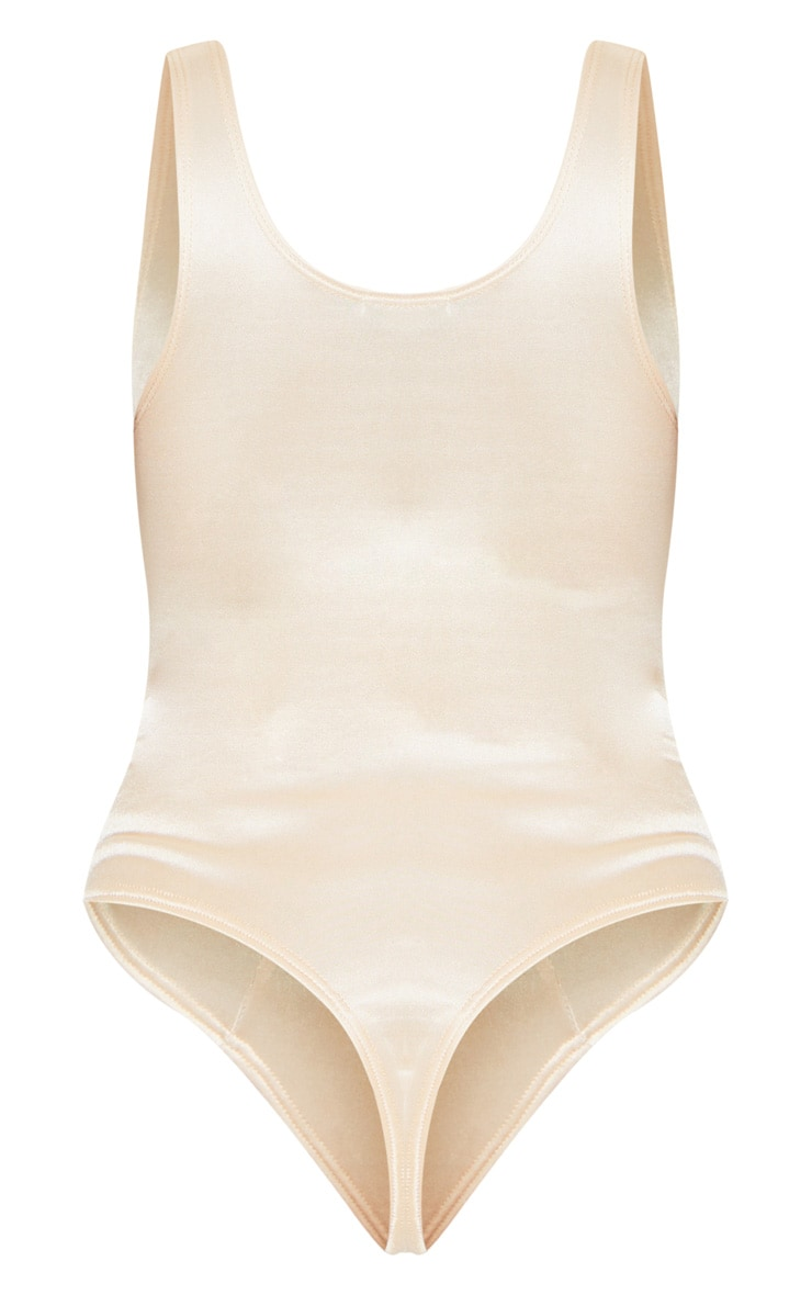 Nude Stretch Satin Bust Cup Detail Bodysuit 6