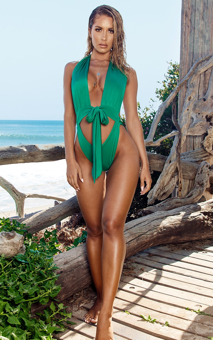 Green Halterneck Tie Waist Swimsuit 4