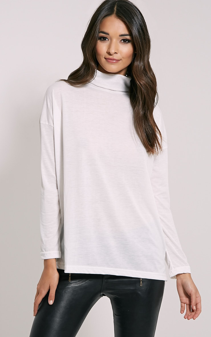 Thora Cream Roll Neck Top 1