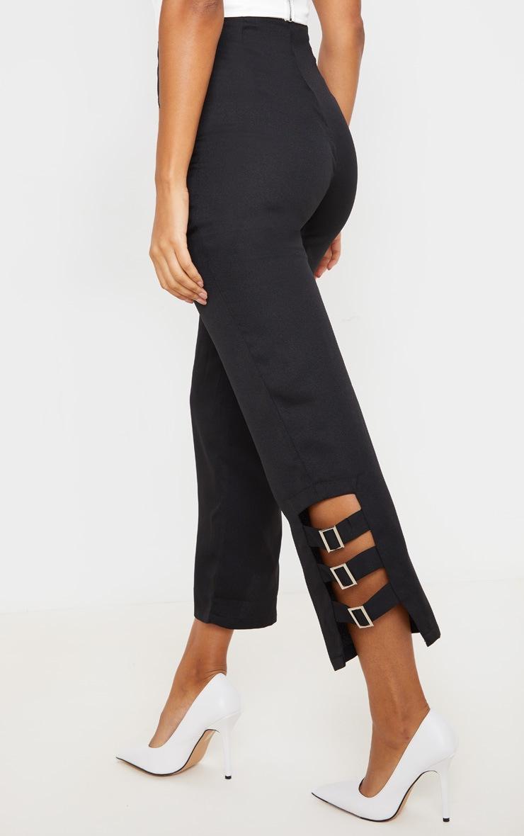 Black Woven Buckle Detail Straight Leg Trousers 4