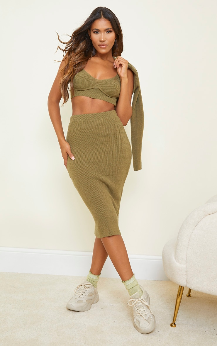 Olive All Over Ribbed Knitted Midi Skirt 1