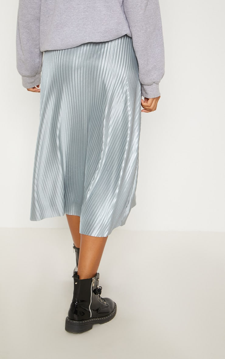 Silver Grey Pleated Full Midi Skirt 3