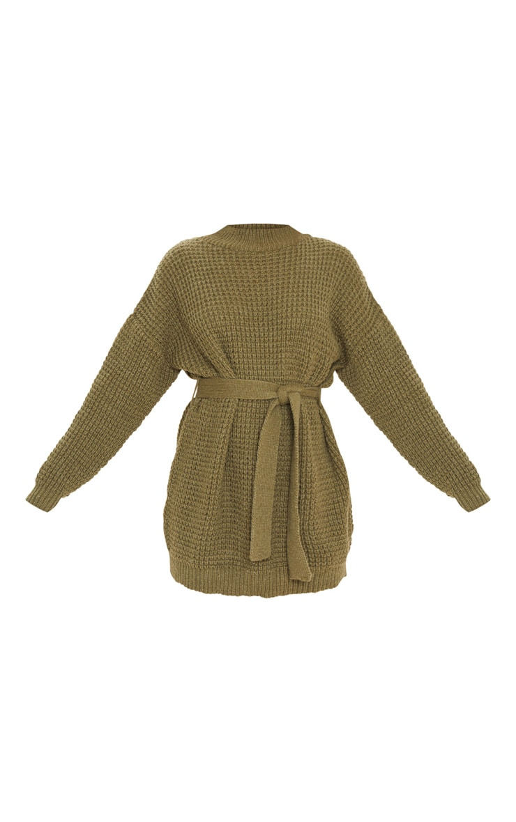 Khaki Soft Touch Belted Knitted Jumper Dress 3