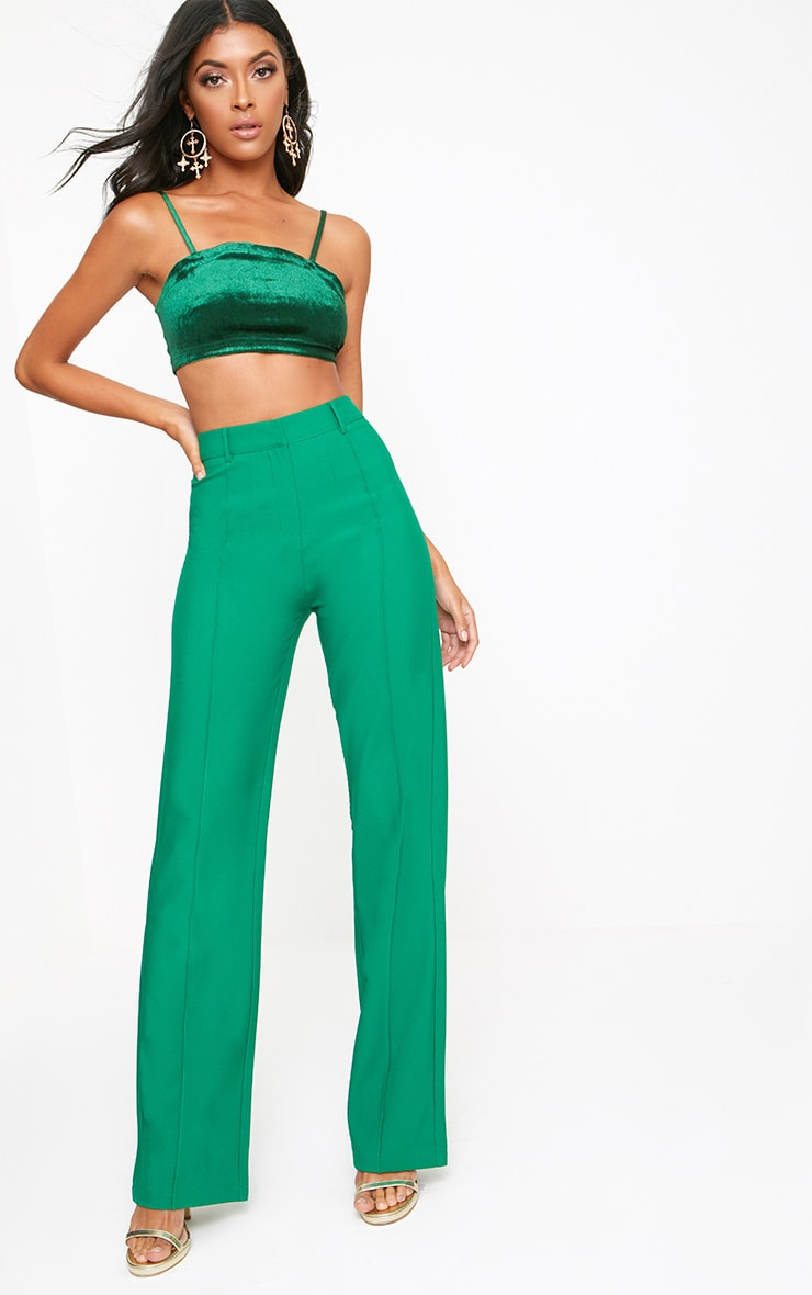 Green High Waisted Straight Leg Trousers