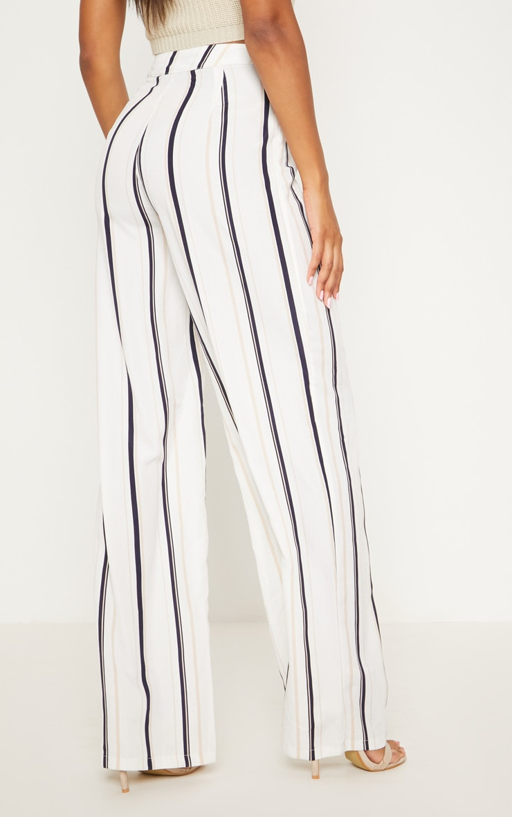 White Striped Wide Leg Trouser 4