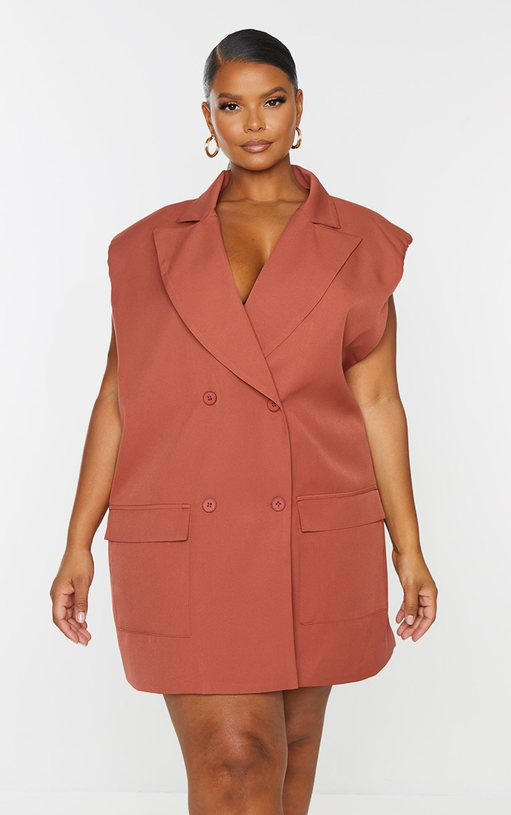 Plus Chocolate Sleeveless Shoulder Pad Double Breasted Blazer Dress 3