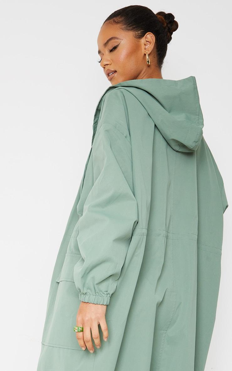 PRETTYLITTLETHING Khaki Elastic Waist Drop Shoulder Trench Coat 4
