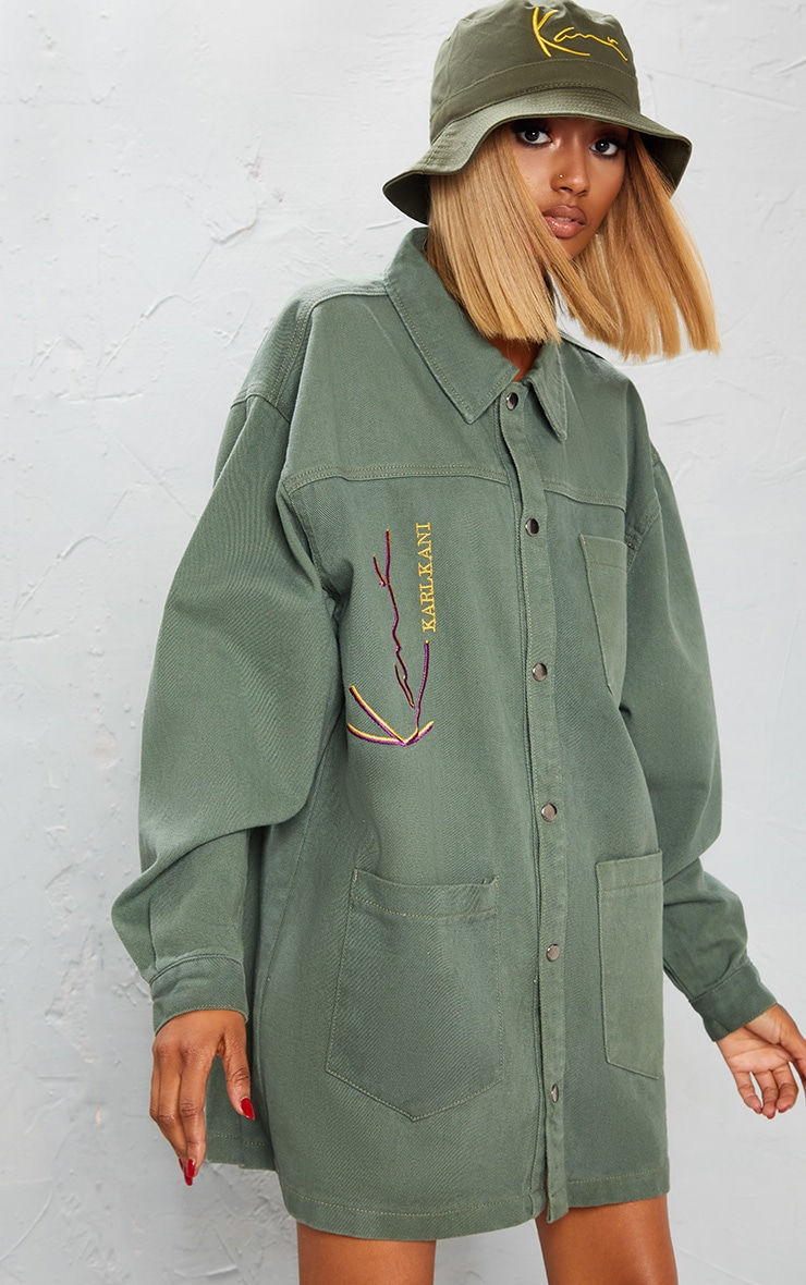 KARL KANI Khaki Oversized Denim Shirt Dress 5