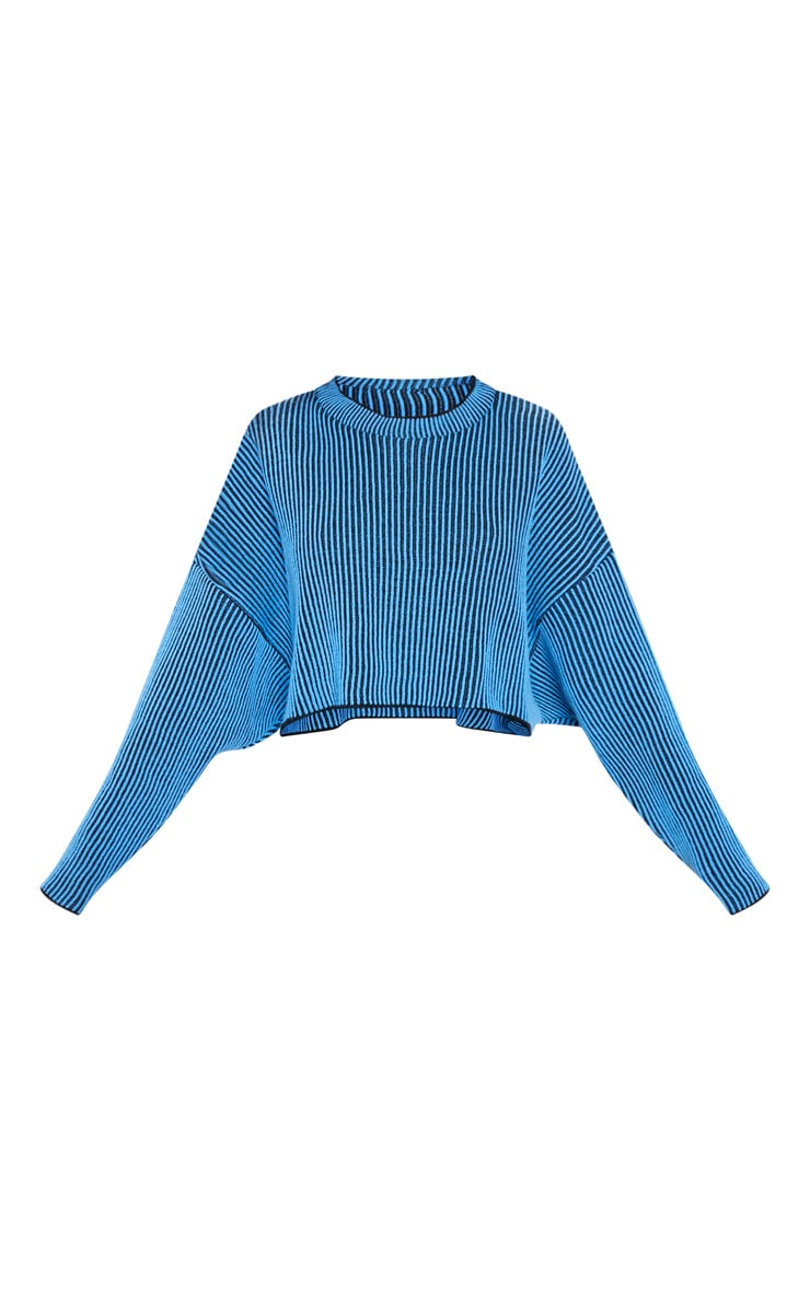 Blue Two Tone Knitted Batwing Sweater 3