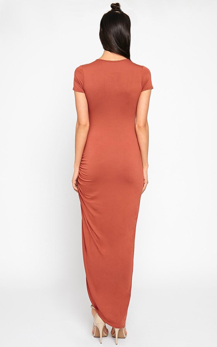 Basic Rust Ruched Cap Sleeve Maxi Dress 2