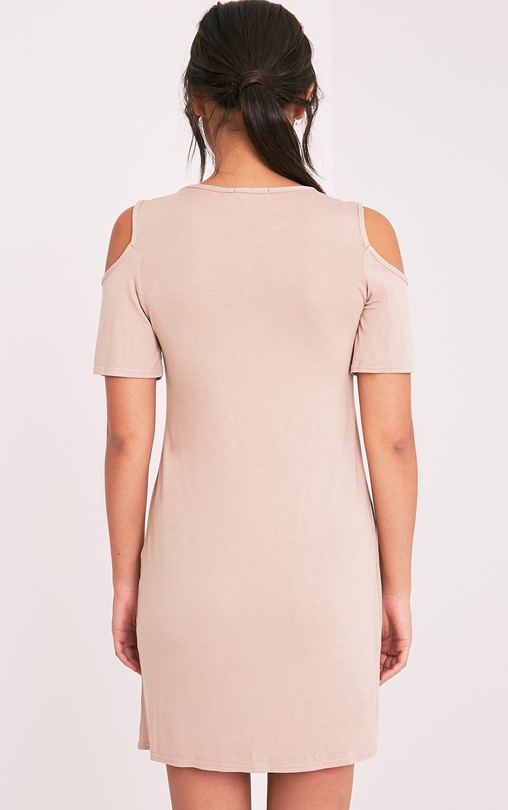 Neeka Nude Cold Shoulder T-Shirt Dress 2
