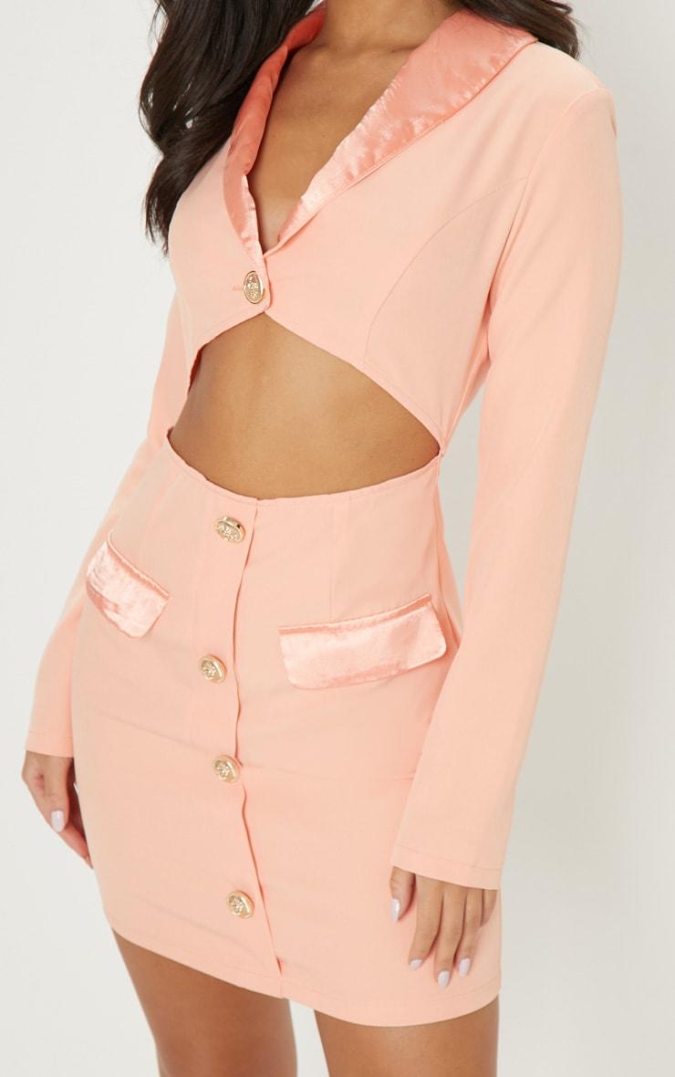 Peach Gold Button Satin Insert Cut Out Blazer Dress 5