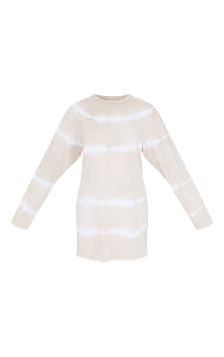 Beige Tie Dye Long Sleeve T Shirt Dress 5
