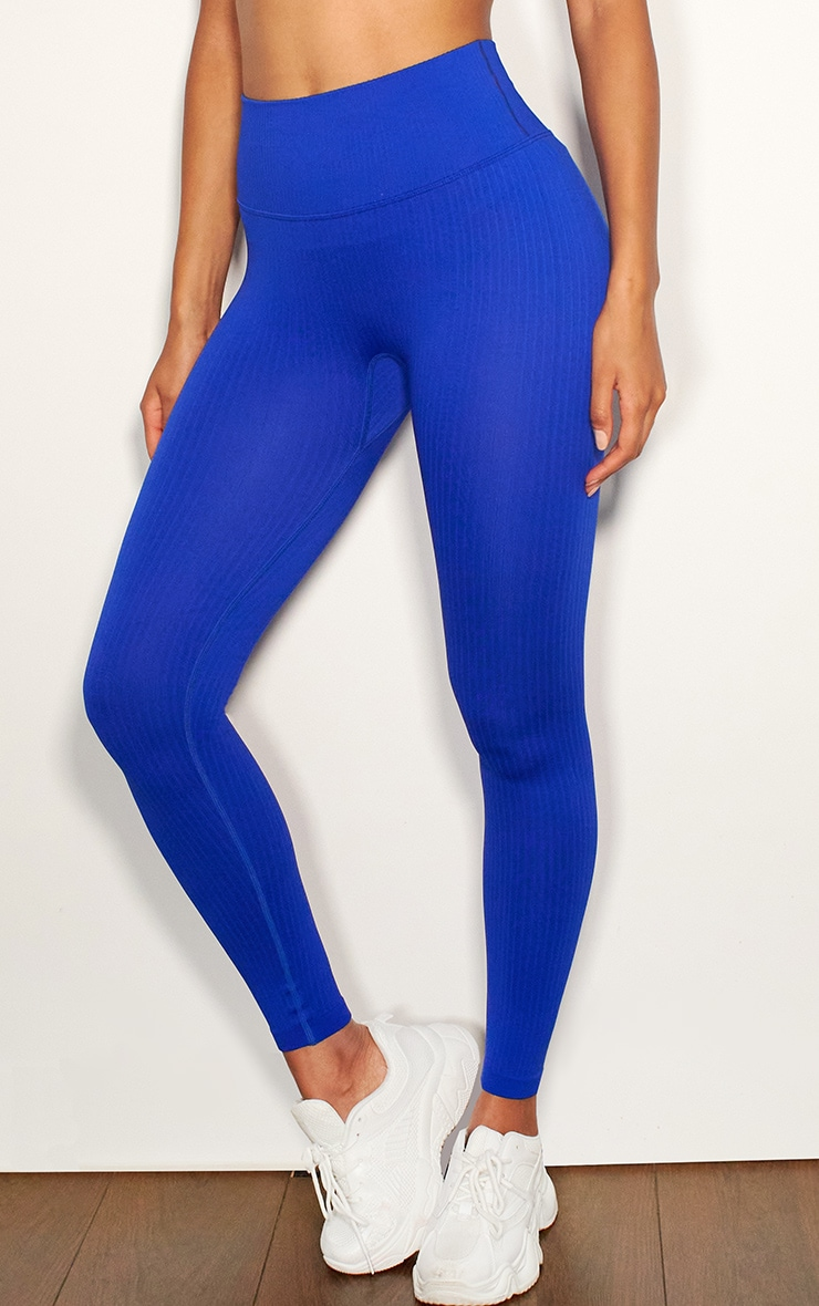 Cobalt Ribbed Seamless Sports Legging 2