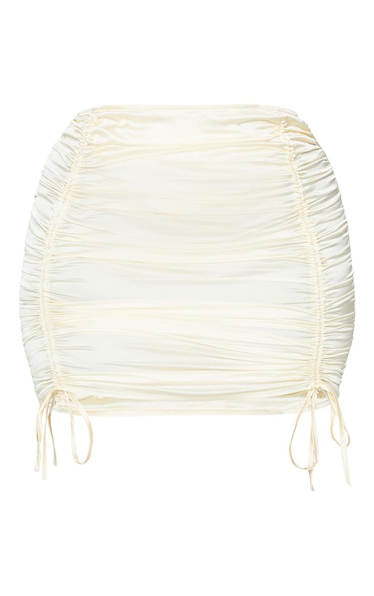 Plus Cream Satin Ruched Skirt 6