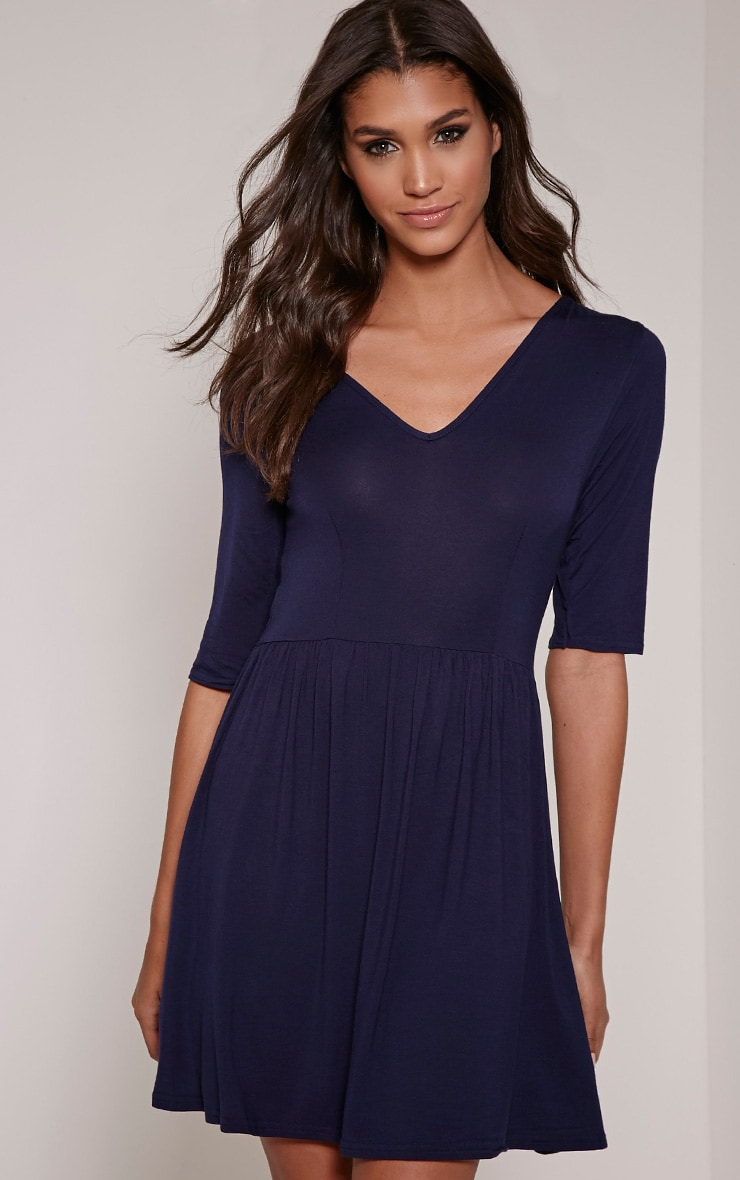 Basic Navy 3/4 Sleeve Skater Dress 1