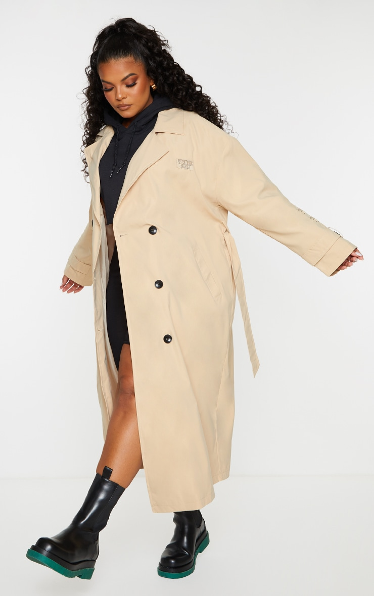 PRETTYLITTLETHING Plus Stone Branded Badge Trench Coat 3