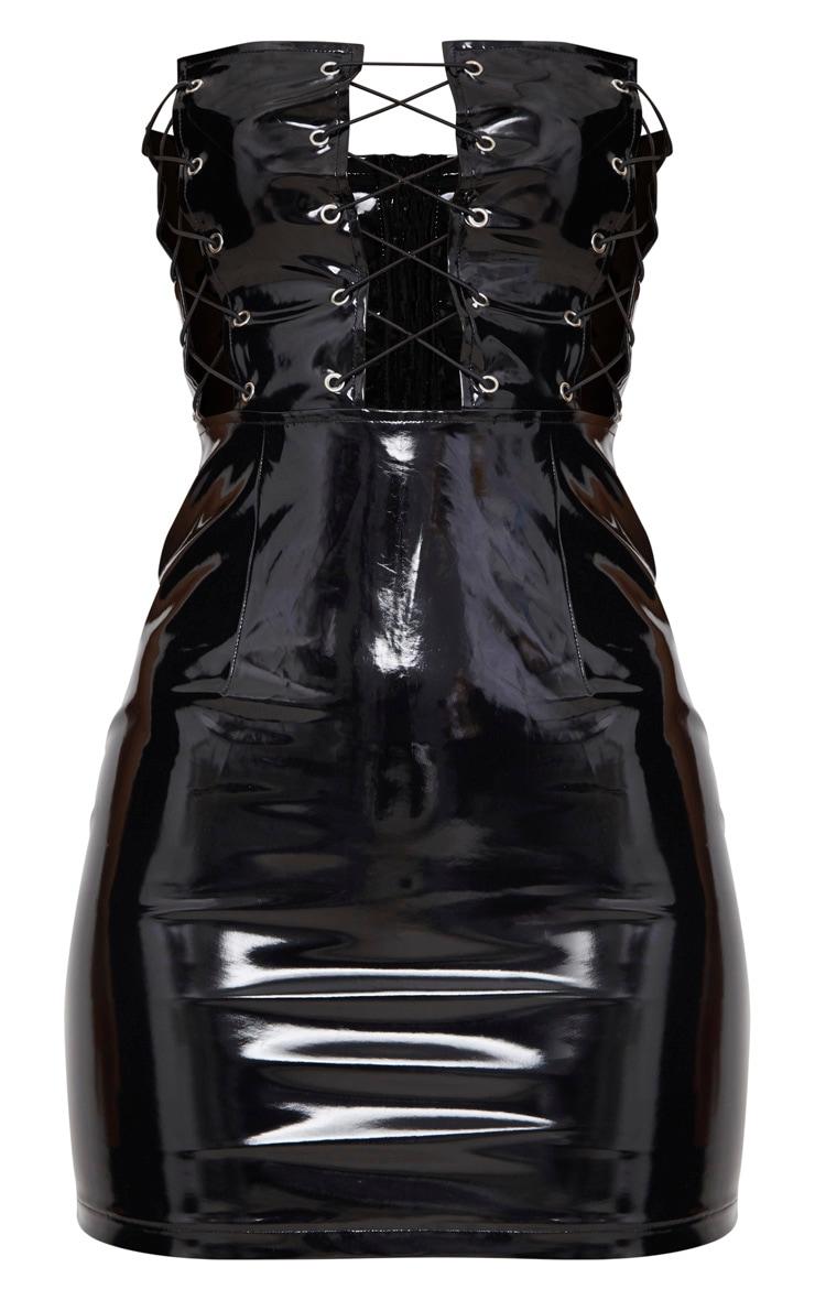 Black Bandeau Vinyl Lace Up Front Bodycon Dress 3