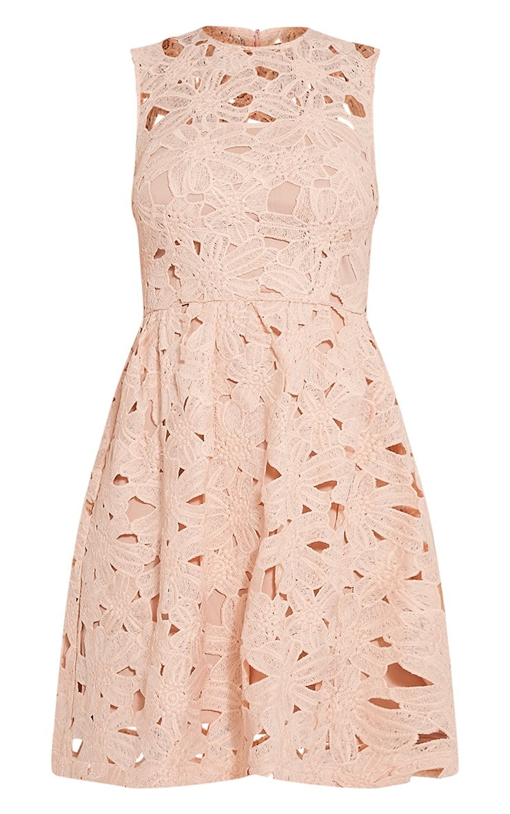 Antonia Nude Crochet Lace Skater Prom Dress 3