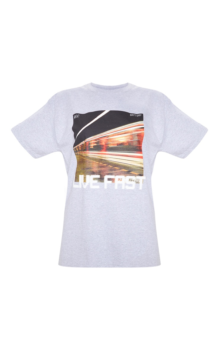 Grey Live Fast Slogan T Shirt 3