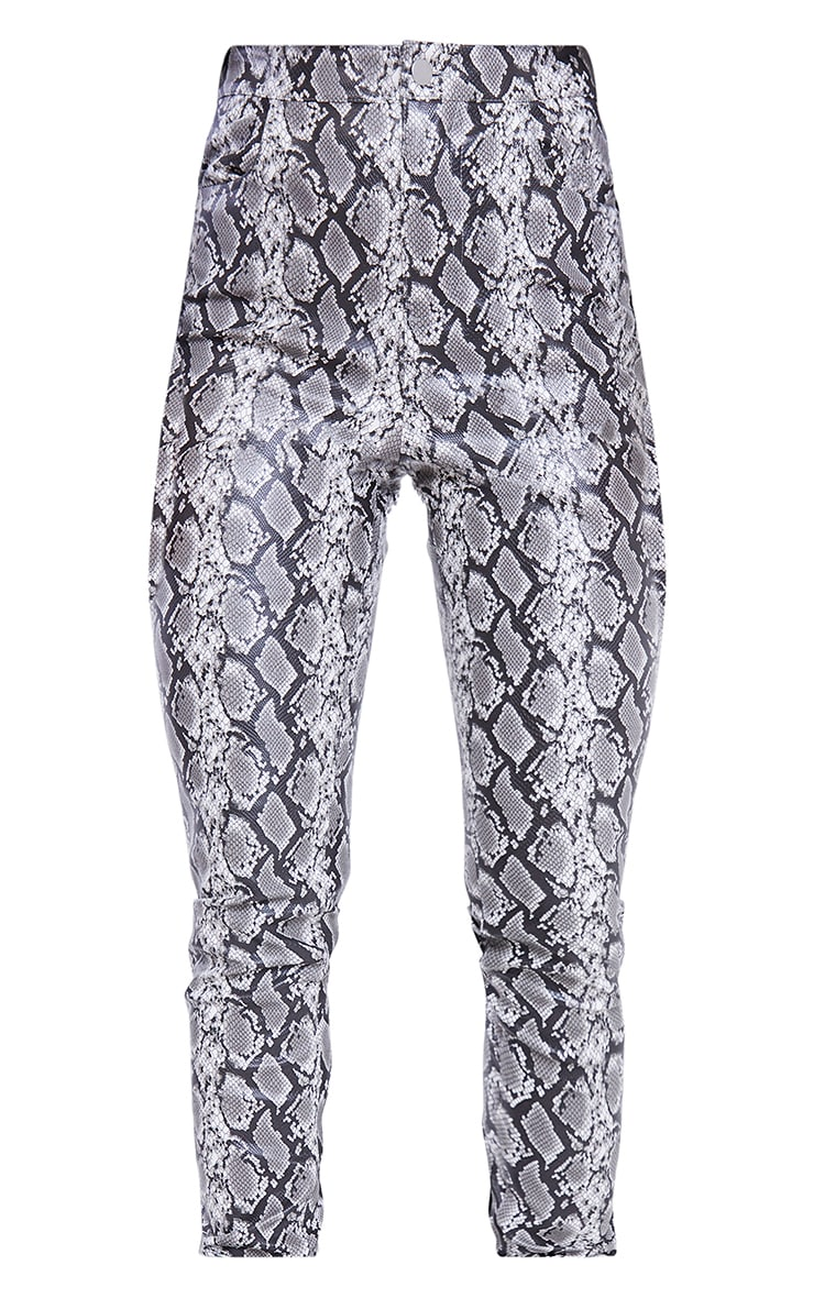 Grey Snake Faux Leather Skinny Trousers 5