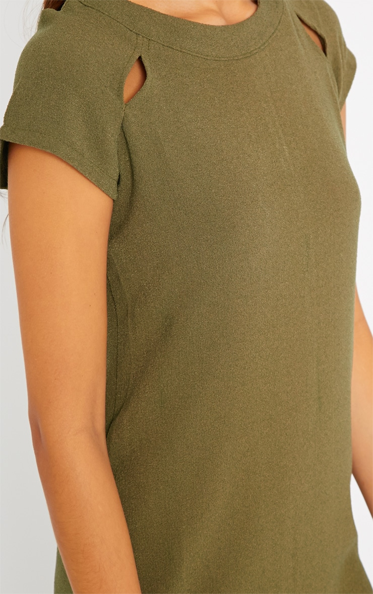 Hannah Khaki Waffle Shift Dress 5