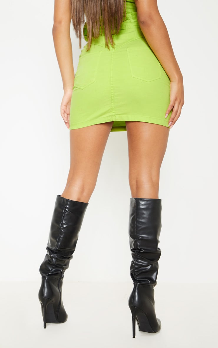 Neon Lime Frill Paperbag Denim Skirt  4