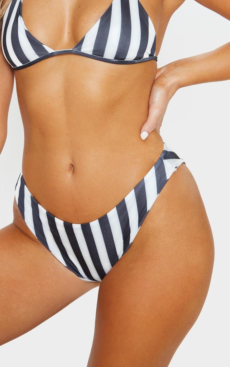Black And White High Leg Full Coverage Bikini Bottom 1
