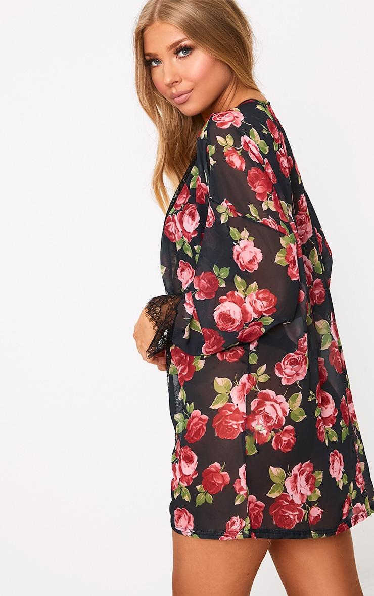 Hazel Black Rose Print Chiffon Short Robe  2