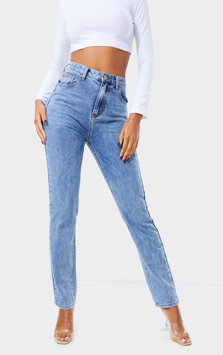Jean skinny long bleu vintage délavé javélisé 2