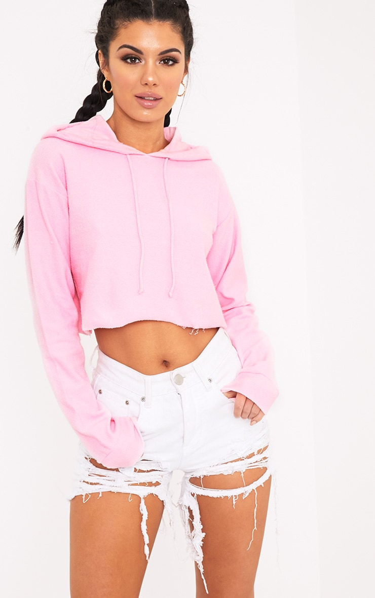 Charissa Baby Pink Inside Out Cropped Hoodie 1