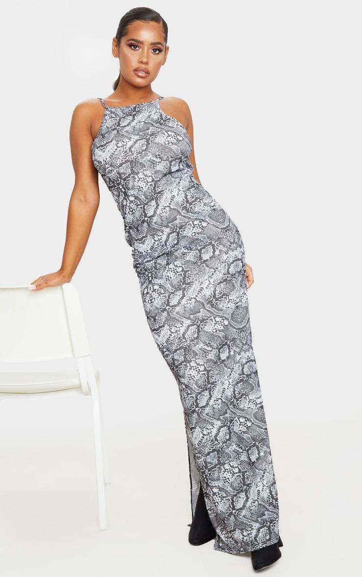 Grey Snake Print Racer Neck Low Back Maxi Dress 3